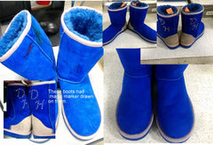 Blue UGGS with marker, before and after picture.