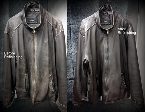 Before and after brown leather jacket.