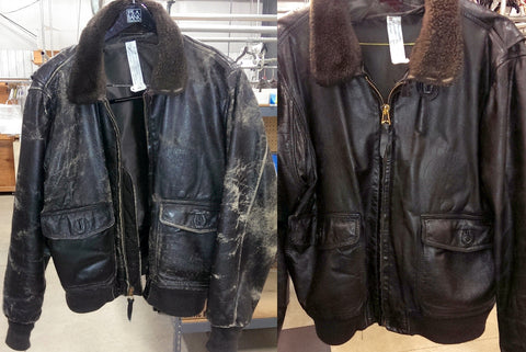 Leather bomber jacket recolored after cleaning.
