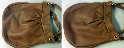 Before and after of leather handbag that was cleaned and refinished.