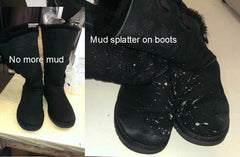 Black boots with mud, before and after picture.