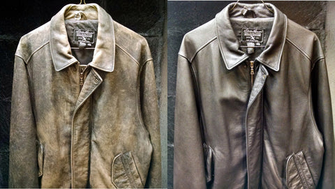 Before and after of brown leather jacket, cleaning and refinishing.