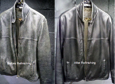 Black leather jacket recoloring, before and after cleaning and refinishing.