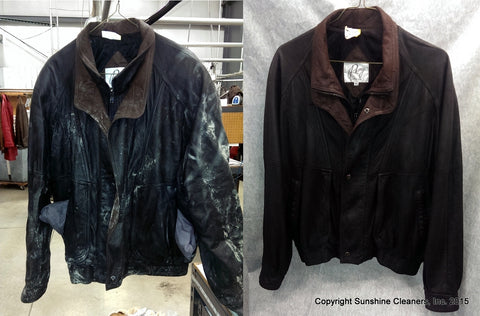 Mold and mildew on leather jacket, before and after picture.