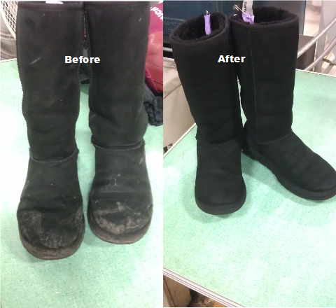 Black UGG boots before and after cleaning picture.