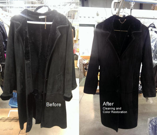 Shearling coat cleaning before and after.