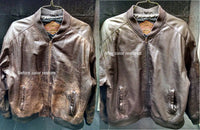 Leather Flight Jacket cleaning before and after pictures by LeatherCareUSA.com