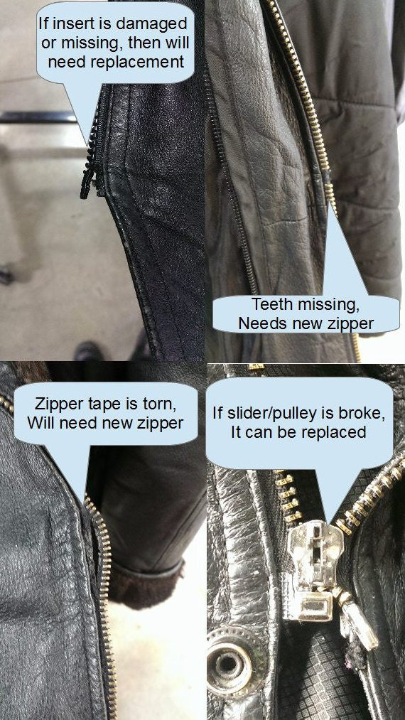 Zipper repair on leather jacket cost