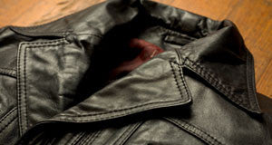 Professional leather jacket cleaning service.