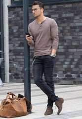 Long sleeve Henley with jeans and fashion boots