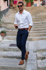 White button down With Chinos and Belt