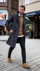 Trench Coat with sweater and collared shirt and chinos