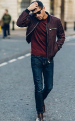 Burgundy Bomber Jacket Jeans and casual fashion boots
