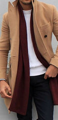 Trench Coat with scarf, sweater, and chinos