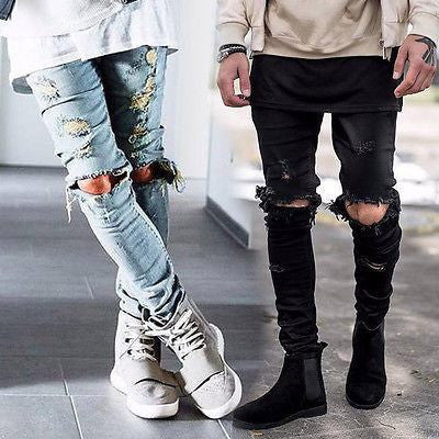 Mens Ripped Slim Fit Elastic Denim Biker Jeans