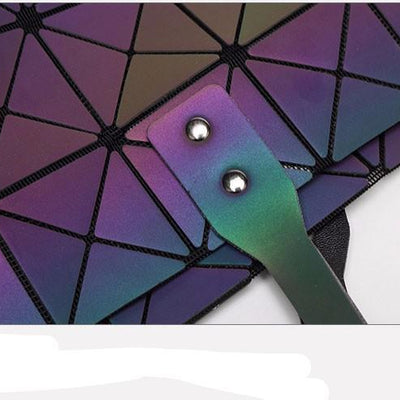 geometric luminous purses and handbags shard lattice eco-friendly leather holographic