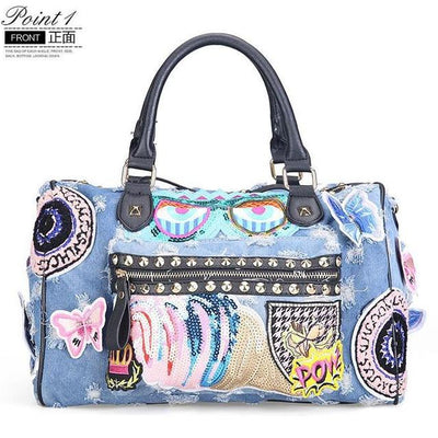 Rock Style Denim Fashion Tote Handbags