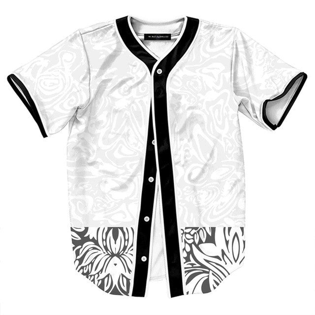 New Summer Vintage Print Short Sleeve Baseball Jersey