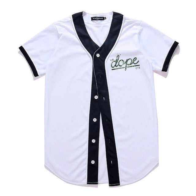 "New Summer ""Dope"" Print Short Sleeve Baseball Jersey"