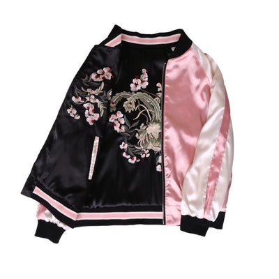 Floral Embroidery Women's Harajuku Bomber Jacket