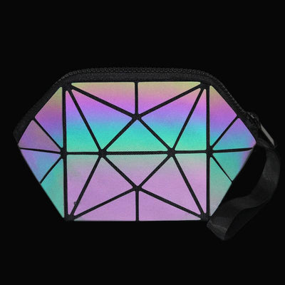 Geometric reflective luminous cosmetic bags