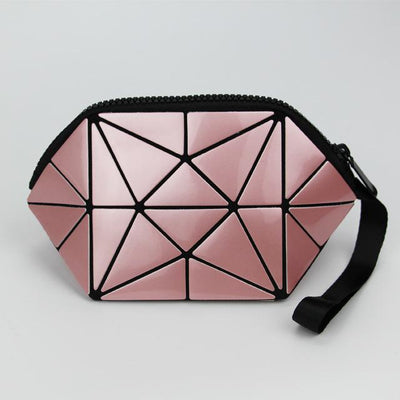 Pink geometric cosmetic bag