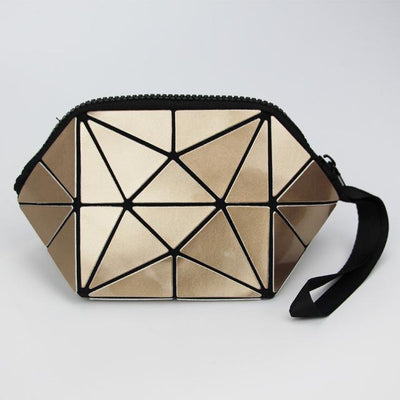 gold geometric holographic cosmetic bag