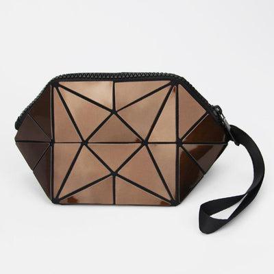 Brown geometric holographic cosmetic bag