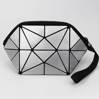 silver geometric cosmetic bag