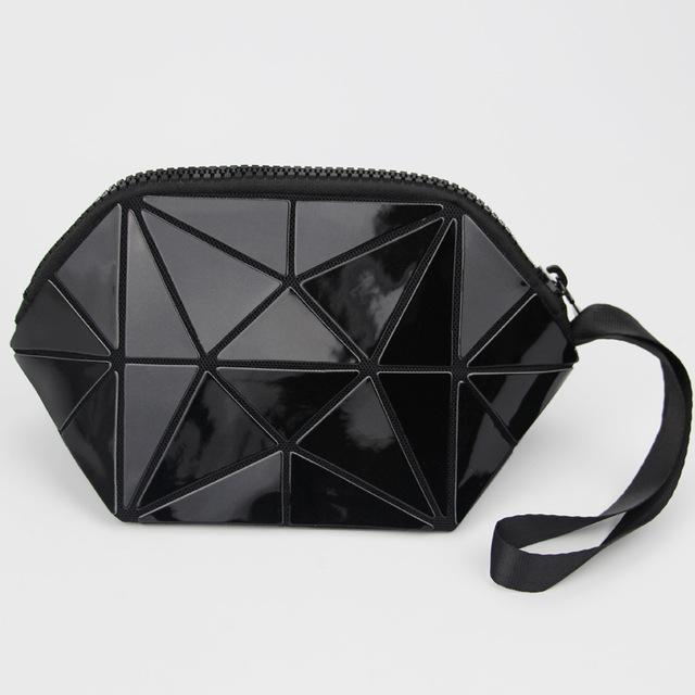 black geometric cosmetic bag
