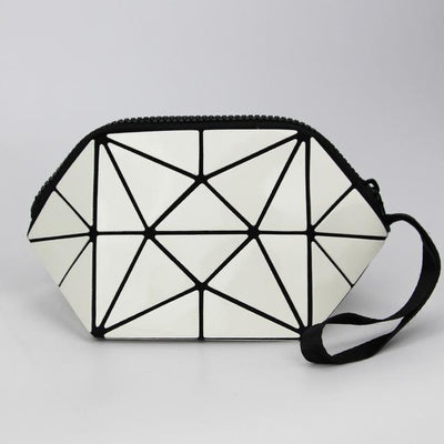 white geometric holographic cosmetic bag