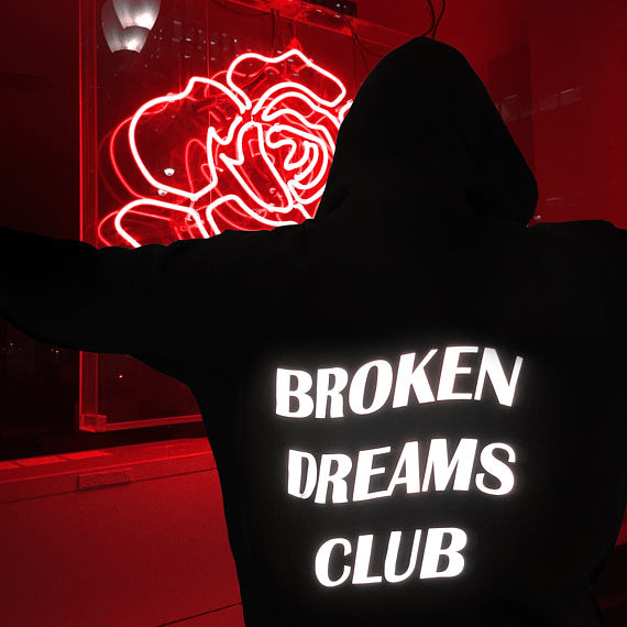"""Broken Dreams Club"" Neon Reflective Hoodie"