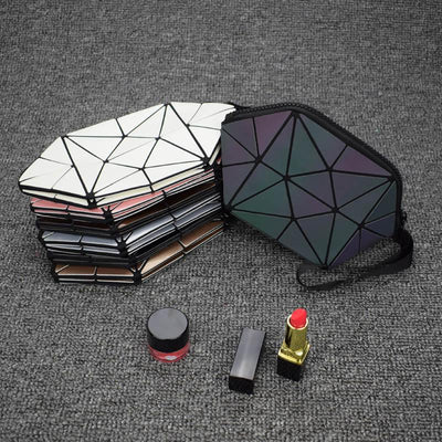 geometric holographic cosmetic bag