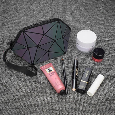 geometric luminous cosmetic bag shard lattice eco-friendly leather holographic