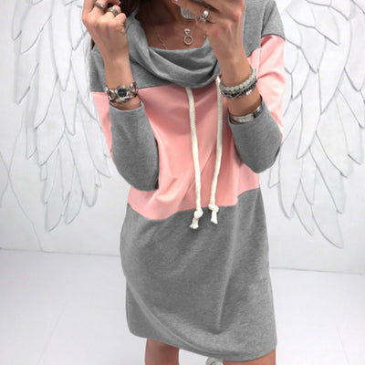 Comfort Fit Turtleneck Streetwear Hoodie Dress