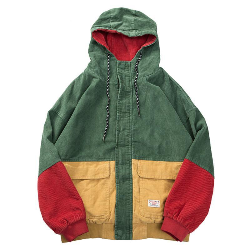 """Jaded Emerald"" Patchwork Corduroy Hooded Jacket"