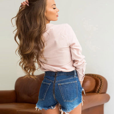 """Summer Classic"" Sexy High Waisted Jean Shorts with Back Zippers"