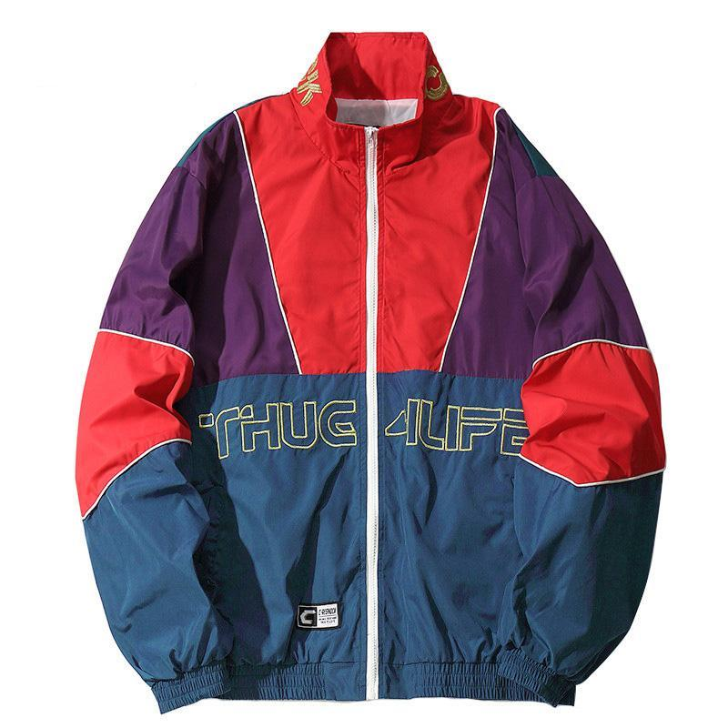 """Thug 4 Life"" Retro Patchwork Windbreaker"