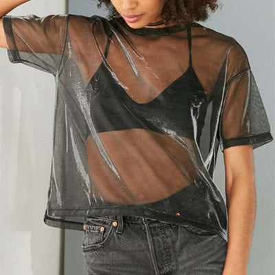 Summer Mesh Womens Translucent Tee