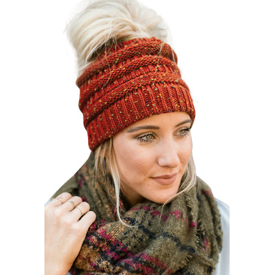 "Cute ""MessyBun"" Ponytail Beanie + Holiday Special"