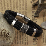 Men's Braided Leather Stainless Steel Wristband