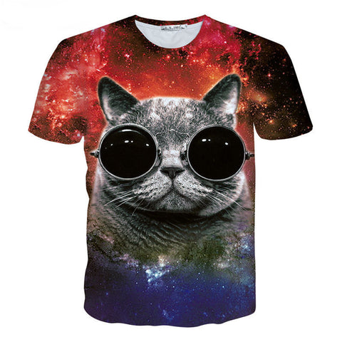 Cute Galaxy Space Cat in Steampunk Glasses