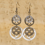 Steampunk Earrings Antique Bronze and Silver