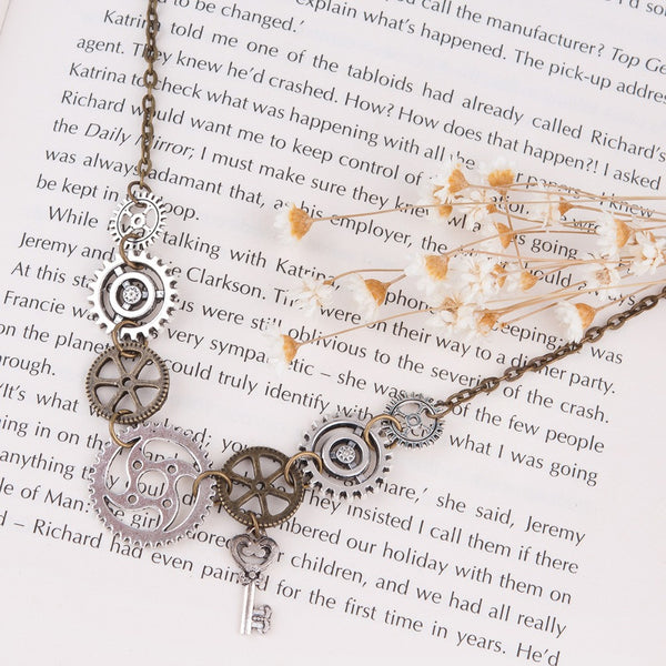 Gears and Key Pendant Necklace