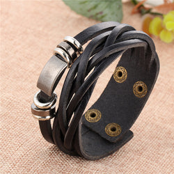 Leather Braided Dual Cuff Bracelet With Silver Accents