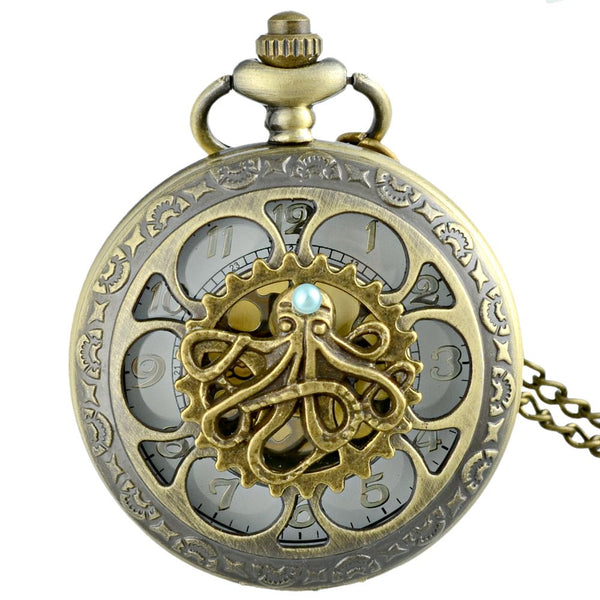 Unique Octopus Pocket Fob Watch With Chain