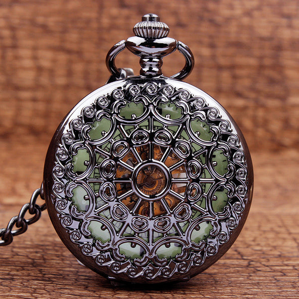 Spider Web Pattern Stainless Steel Mechanical Pocket Watch