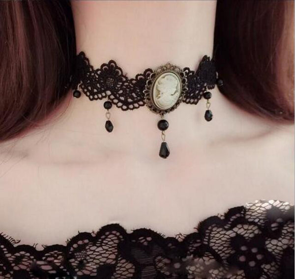 Victorian Black Lace White Cameo Choker Necklace