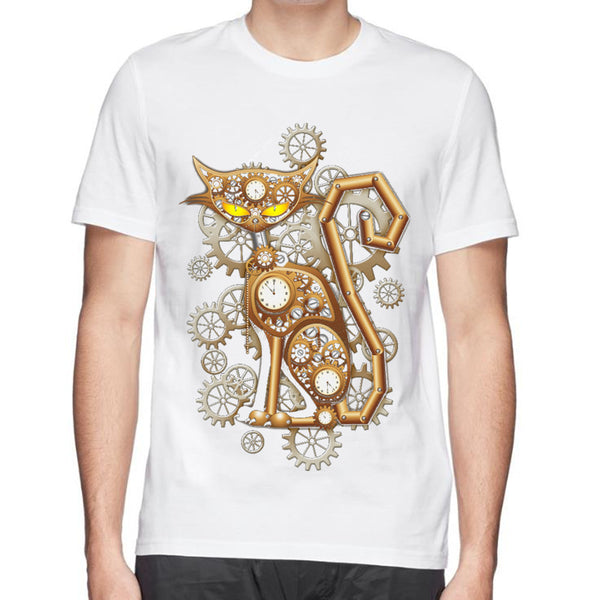 Steampunk gears mechanical cat white cotton t-shirt