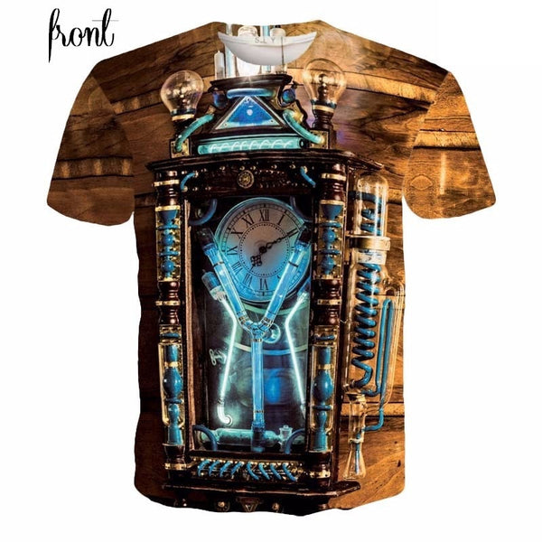 Retro Steampunk Glowing Clock T-Shirt
